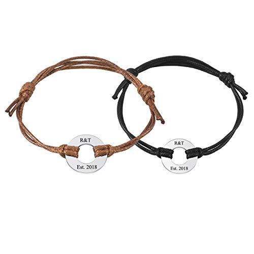 Couples Circle - Jovivi Custom Bracelet- Personalized Engraved Nameplate Monogram Round ID Tag Inital Leather Bracelet Adjustable for Couples Gifts