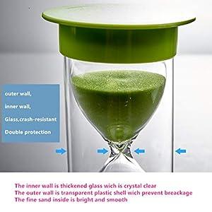 Toirxarn Reloj de arena, doble protección, asistente de gestión del tiempo, regalo creativo, decoración de la oficina de la sala de estar - 60 minutos Verde 3