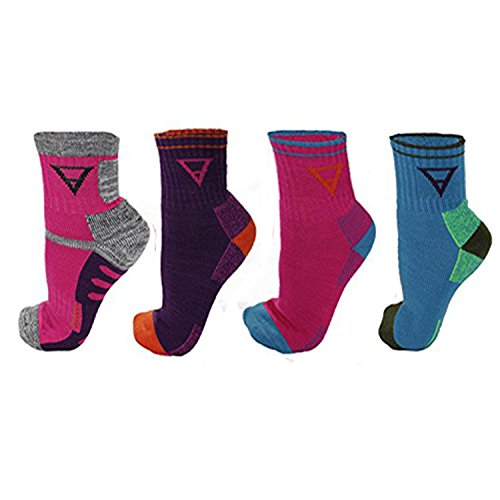 (FITSHIT Athletic Hiking Socks 4 Pack - Mens & Womens Multi Performance Outdoor Wool Blend Sock (Small, Multi - 4 Pack))