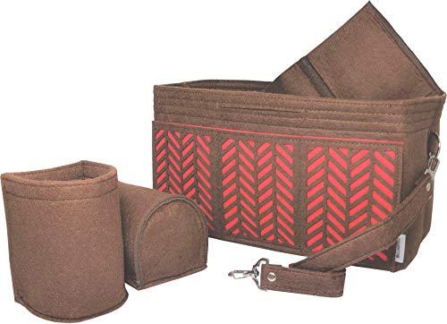 BELIANTO Felt Purse Organizer - Middle Insert, Bottle Holder for Tote Handbag Purse (Herringbone) (Medium, Dark Brown) ()
