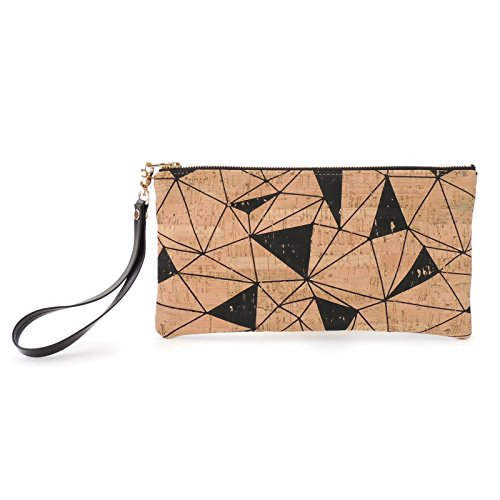 Geometric Printed Cork Clutch with Leather Wrist Strap by Spicer Bags by SPICER BAGS