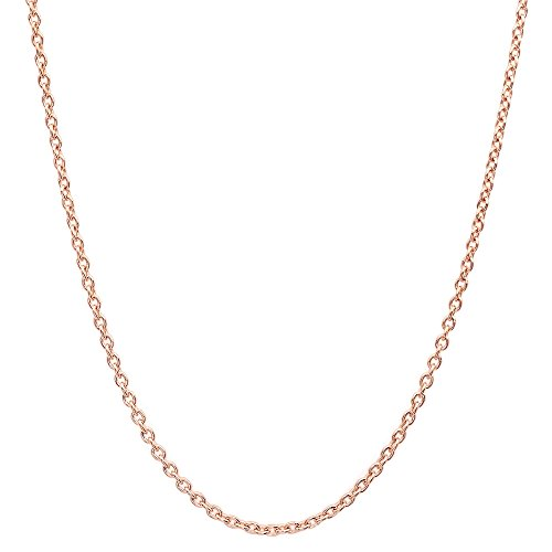 (18K Solid Gold Diamond Cut Round Cable/Anchor Chain Necklace- perfect alone or for pendants (Rose, 18))