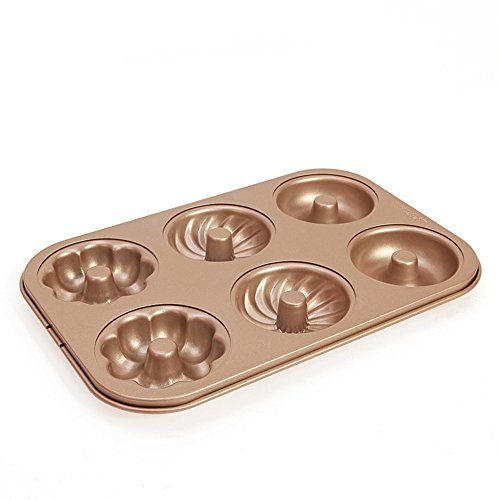Donut Mold Carbon Steel Baking Pan Muffins by THYMY and Flexible Mold Ice Tray Cookie with 6-Cavity No-BPA, Non-stick Baking Doughnut Pan (Steel Donut)