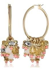 Leslie Danzis Light Coral Beaded Hoop Earrings