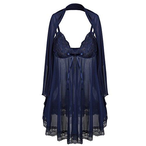 Tracolla Plus Nightdress Scialle Size da UOMUN Sling Dress Lingerie le 6XL dimensioni Navy Prospettiva Intimo per Camicia Grasso Sexy Blu regolabile 6XL notte donne S 4U7w7qax