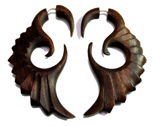 A Pair of Tribal Organic Fake Gauges Tattoo Wood Faux Plugs Wooden Earrings Sew_1 - Baby Faux Earrings