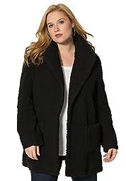Roamans Women\'s Plus Size Teddy Fleece Jacket Black,M