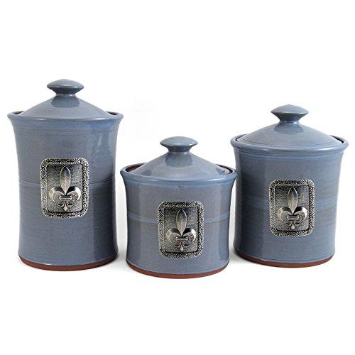 Oregon Stoneware Studio Fleur de Lys 3-piece Canister Set, (Pottery Canister Set)