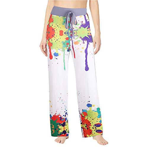 (Women Sport Yoga Pants Jchen Ladies Comfy Casual Pajama Pants Colorful Print Splice Drawstring Palazzo Wide Leg Pants (3XL, Multicolor) )