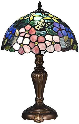 - Dale Tiffany STT16081 Fox Peony Tiffany Table Lamp Antique Bronze