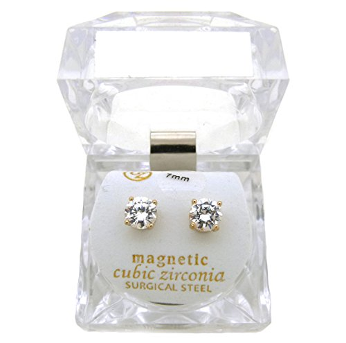 (Silver Tone 4,5,6,7,8,9,10mm Clear Round Shape Cubic Zirconia Magnetic Stud Earring (All Size) (Gold - 7mm (0.7cm)))