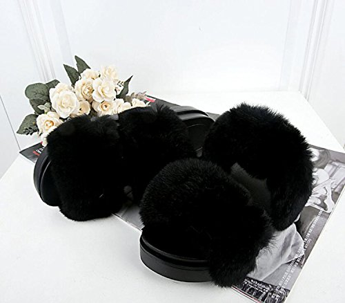 Fur Shoes Slippers Flops Fall Feather Women Home Toe Slippers Comfort Black Heel New Round shoes amp; Flat Flip DANDANJIE wZ0I1
