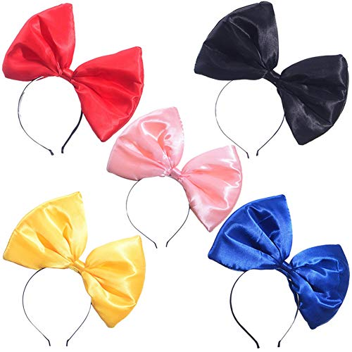 ZTL Women Huge Bow Headband Hairband Hair Hoop Costume Accessories Party Props 5 Pack, Multicolor, One size