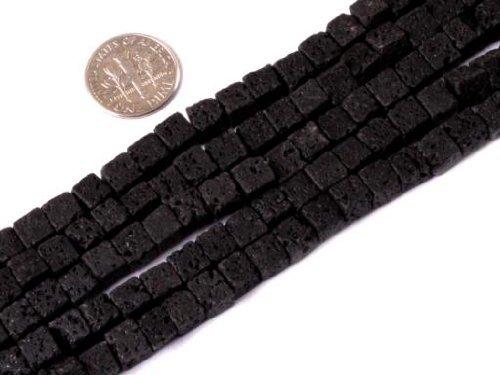 6mm Square Black Lava Rock Beads Strand 15 Inch Jewelry Making Beads