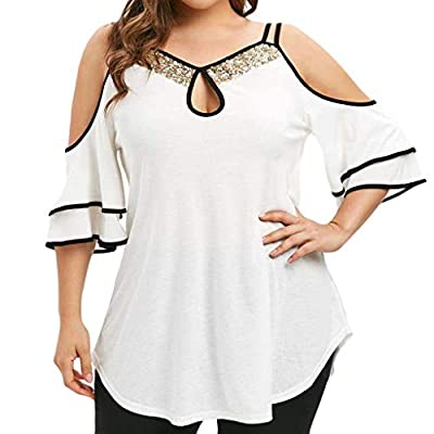 BEAUTYVAN Plus Size Henley Tops, Women Casual Off The Shoulder Sequin Short Sleeve T Shirt Blouse at  Women's Clothing store