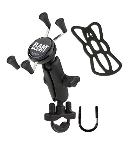 Ram Mounts RAM-B-149Z-UN7U Handlebar Rail Mount with U-Bolt Base and Universal X-Grip Cell Phone Holder, Zinc Coated (Handlebar Tree Clamp Mount Triple)