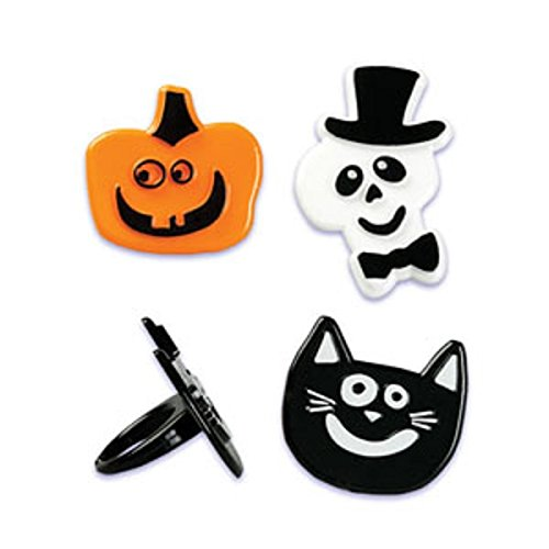 Oasis Supply Cupcake/Cake Decorating Skull, Cat and Pumpkin Puffy Rings, 1 1/2-Inch, 12-Pack]()