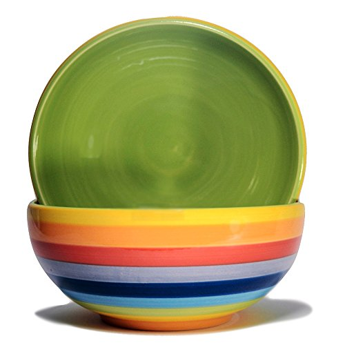 CinMin Colorful Striped Ceramic Stoneware Soup and Cereal Bowl, 6 Inch Set of 2