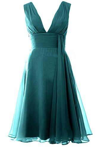 MACloth Women Deep V Neck Cockltail Dress Simple Short Wedding Party Formal Gown Teal