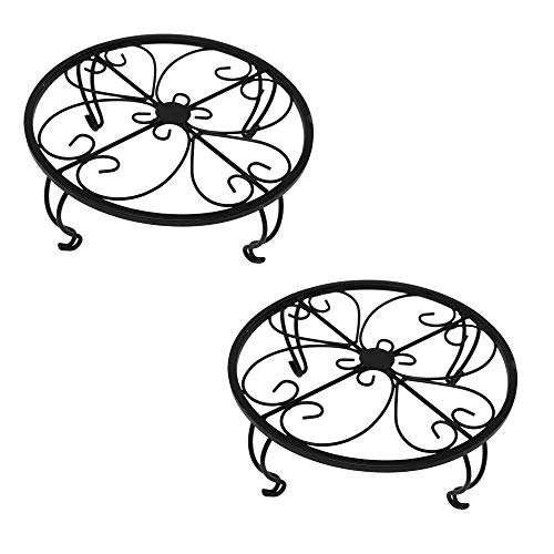 gbHome GH-6749B2 Iron Potted Plant Stand, Black, 2-Pack, Powder Coated Rust Resistant Metal, Decorative Indoor \ Outdoor Flower Pot Holder Saucer, Rustproof Round Heavy Garden Planter Support Rack
