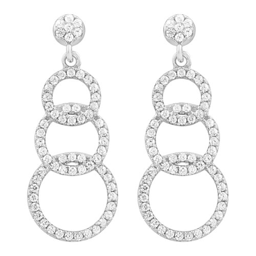 Sterling Silver Cubic Zirconia Graduated Circles Drop Earrings Graduated Circle Earrings