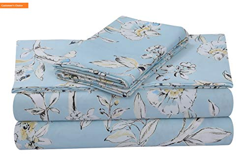 Mikash New Soft Colmar 300 Thread Count Cotton Extra Deep Pocket Printed Sheet Set, Cal King, Sky Blue/Multi | Style 84599436