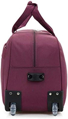 Minmin-lgx New Travel Bag Large Capacity Oxford Brake Bag Folding Multi-Function Boarding Bag Men and Women Travel Bag Color : Wine red, Size : 24in