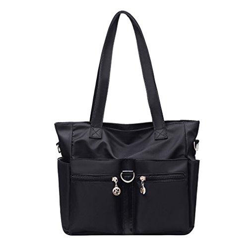Fabuxry Women Casual Totes Handbags Shoulder Bags Purses Soft Nylon Bag Black