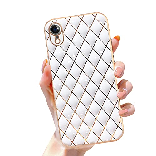 Gimigo Compatible with iPhone XR Case for Women, Cute Sparkle Luxurly Plating Lattice Design, Full Camera Lens Protection + Shockproof Edge Bumper TPU Cover Case for iPhone XR [6.1 inches] -White