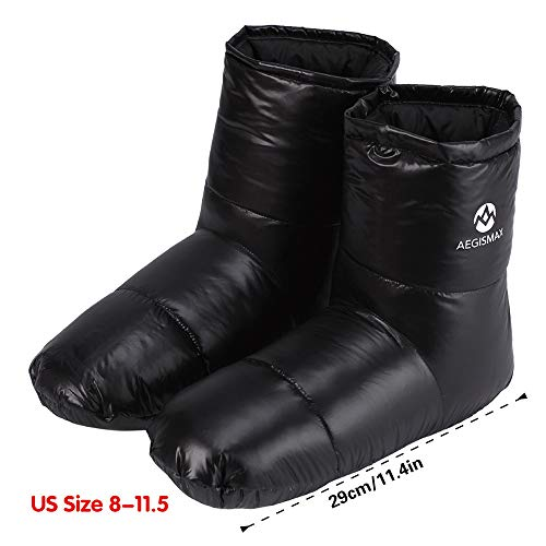WIND HARD Winter Down Booties Socks Slippers Warm Soft Cozy For Outdoor Camping Sleeping bag Indoor Down Filled Slipper Boots Ultralight 3 Size For Men Women (black, L)