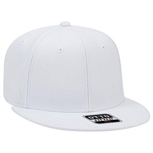 (OTTO FIT Wool Blend Twill Round Flat Visor 6 Panel Pro Style Baseball Cap - White)