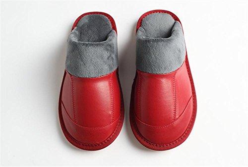 Chaud de Cuir Chaussons Couple Confort Anti pour WDGT Femmes 002 Slip Maison en d'hiver d'intérieur Pantoufles Coton Slip Peluche en Pantoufles Hommes Respirant on OxX77Eqwd