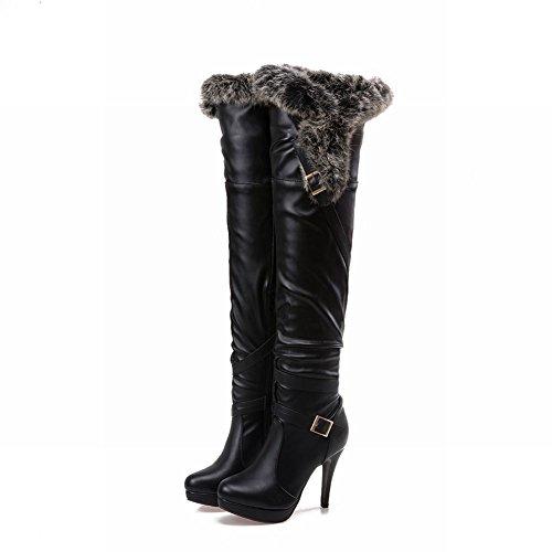 Mee Shoes Damen high heels Plateau langschaft Pompon Stiefel Schwarz