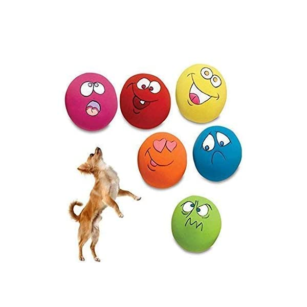 HDSX Squeaky Pet Toys for Cat Dog Teeth Squeaker Ball Puppy Squeaky Sound Face Fetch Play Toy 6 Pcs/Set 1