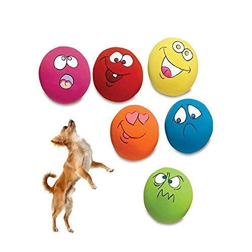 - HDSX Squeaky Pet Toys for Cat Dog Teeth Squeaker Ball Puppy Squeaky Sound Face Fetch Play Toy 6 Pcs/Set