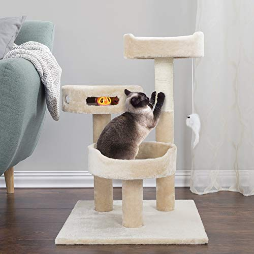 Amazon.com: PETMAKER Cat Tree 3 Tier 2 Hanging Toys A 3 Ball ...
