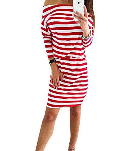 Oblique Comfy Fashional Knitting Splicing Red Dress Length Womens Mid Stripe qqgpaPrE