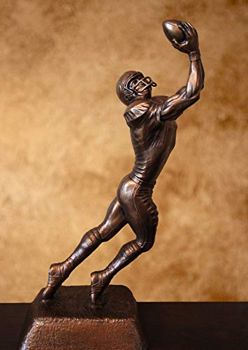 "Football Receiver Trophy - Resin Bronze Sculpture (14.5"" Tall)"