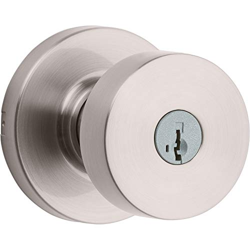 Kwikset 97402-852 Pismo Keyed Entry Door Knob Featuring SmartKey Security, Satin Nickel