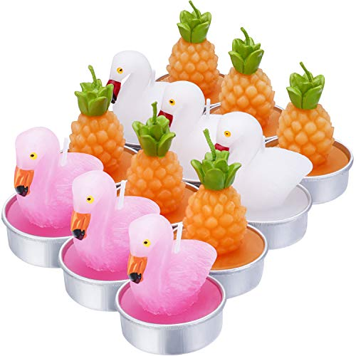 12 Pieces Flamingos Tealight Candles Handmade Delicate Pineapple Flamingos Candles for Party Wedding Spa Home Decoration Gifts (Style G)