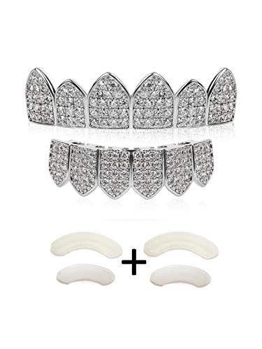 TSANLY Silver Grillz Set Macro Pave CZ White Gold Plated Iced-Out with Extra Molding Bars + Storage Case + Microfiber Cloth ()