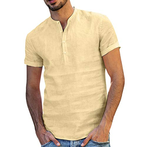 Mens Cotton Button Down Beach Shirts Short Sleeve Linen Spread Collar Tee US