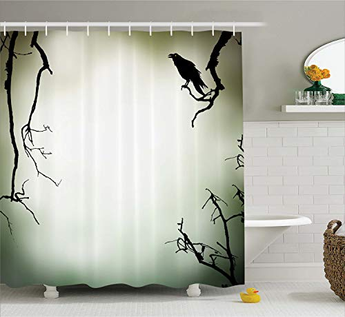 (Ambesonne Horror House Decor Shower Curtain by, Crow Bird on Leafless Branch Cemetery Death Spirit Animal Evil Funeral, Fabric Bathroom Decor Set with Hooks, 70 Inches, Sepia Black)
