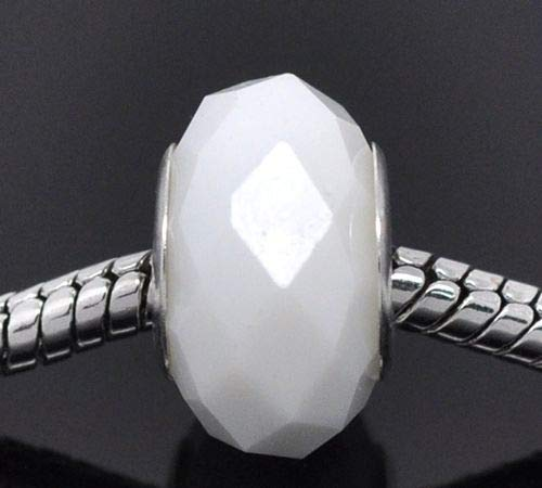 Pendant Jewelry Making Solid White Faceted Glass 14mm Silver Large 5mm Hole European Charm Beads ()