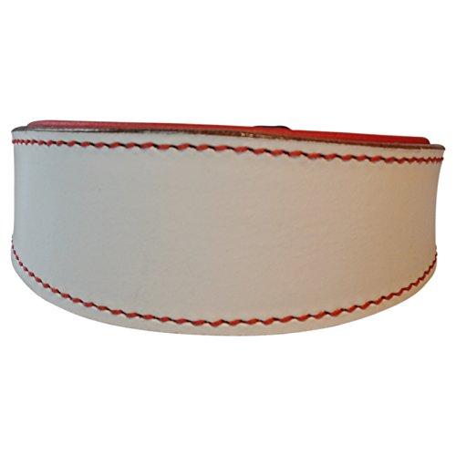 2-TECH-souple-rembourr-Collier-en-cuir-de-buf-Blanc-avec-rembourrage-intrieur-pour-tour-de-cou-Rouge-29-cm-jusqu-33-cm