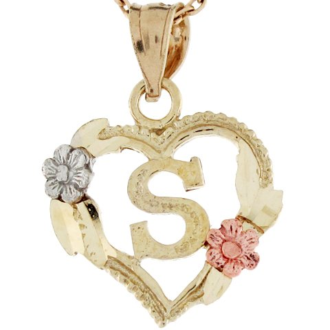 9ct Three Tone Real Gold Heart Roses Letter S Initial Charm