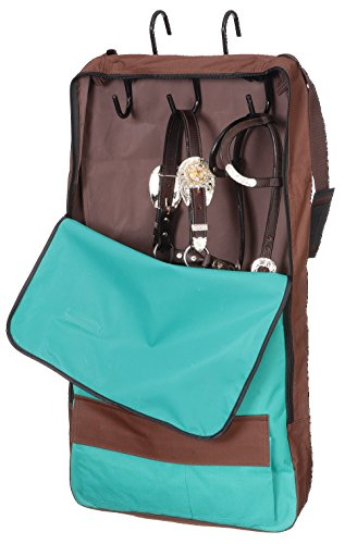 Tough-1 Bridle/Halter w/ 3 Prong Tack Rack,color:Turquoise/brown