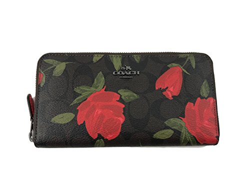 Coach Floral Print Logo PVC Accordion Zip Wallet in Brown Red Multi F26290 (Brown Red Multi) by Coach