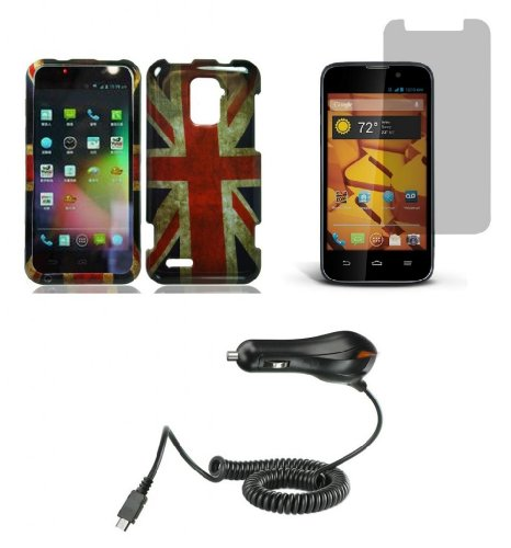 ZTE Warp 4G N9510 (Boost Mobile) - Accessory Combo - UK British Vintage Flag Design Shield Case + Atom LED Keychain Light + Screen Protector + Micro USB Car Charger