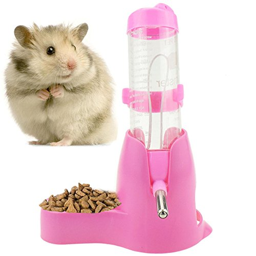 125ml Pet Drinking Bottle with Food Container Base Hanging Water Feeding Bottles Auto Dispenser for Hamsters Rats Small Animals Ferrets Rabbits Small Animals (125ML, Pink)